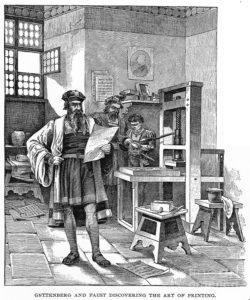 איור של גוטנברג במהלך עבודתו